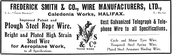 Frederick Smith & Co High Strain Steel Wire For Aeroplane Work