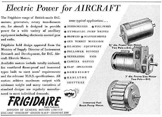 Frigidaire Electrical Power For Aircrafty