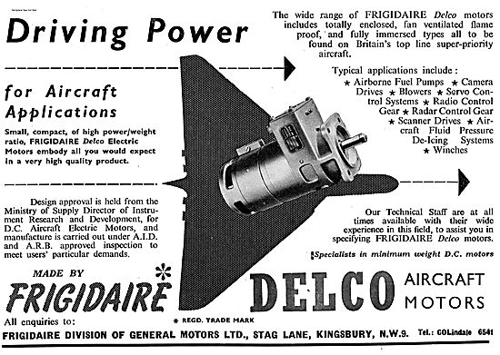 Delco Aircraft Electric Motors Made By Frigidaire