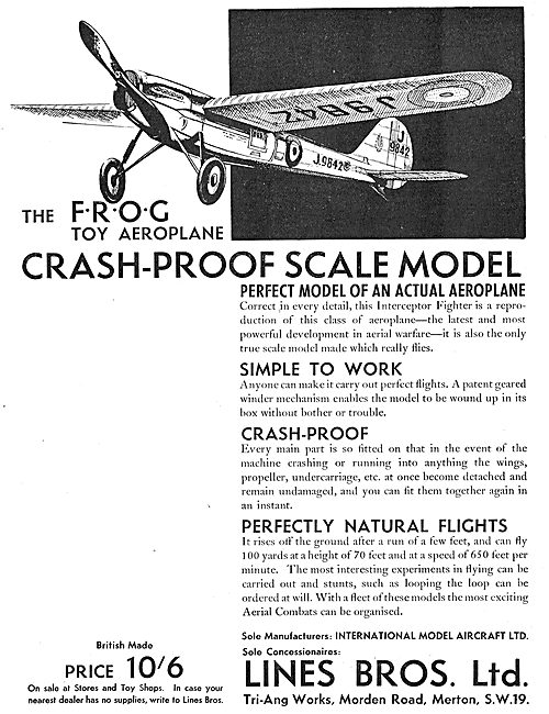 Lines Brothers For The Tri-Ang Frog Crash Proof  Toy Aeroplane