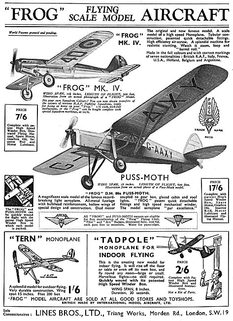 Lines Brothers For The Tri-Ang Frog Flying Scale Models