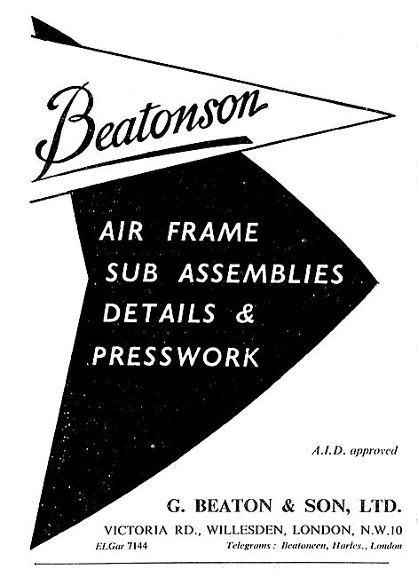 G.Beaton & Son: Beatonson: Manuafcturers Of Aircraft Components