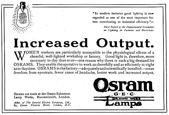 Osram-Robertson Lamp Works - Osram G.E.C Drawn Wire Lamps 1917
