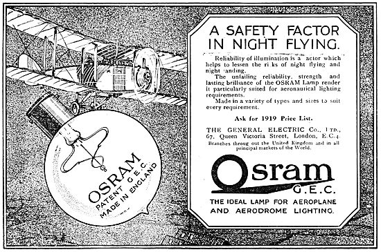 G.E.C  Osram Airfield & Aircraft Lighting. 1919 Advert
