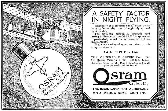 G.E.C  Osram Airfield & Aircraft Lighting. 1919 Advert