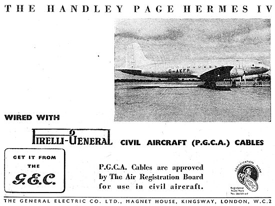 G.E.C. Pirelli (P.G.C.A.) Cables For Aircraft