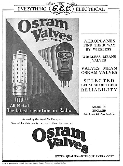 GEC Osram Valves For Aircraft Wireless Sets