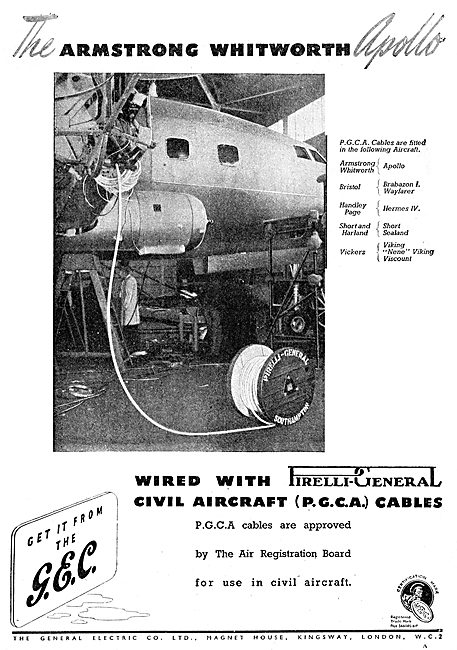 GEC Pirelli (PGCA) Aircraft Electrical Cables 1949