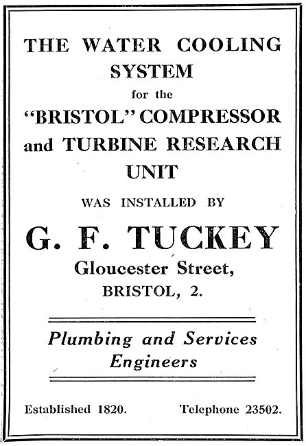 G.F.Tuckey. Gloucester St ,Bristol. Plumbing & Services Engineers
