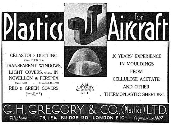 G.H.Gregory.. Celastoid, Novellon & Perspex Parts. Plastics 1943