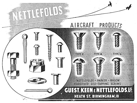 GKN: Nettlefolds Aircraft Products. AGS - SCrews, Bolts & Nuts