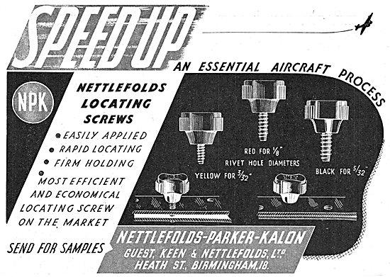 Nettlefold-Parker-Kalon Locating Screws For Aircraft Production