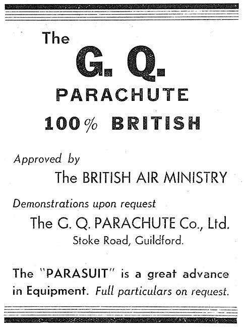 GQ Air Ministry Approved Parachutes - GQ Parasuit