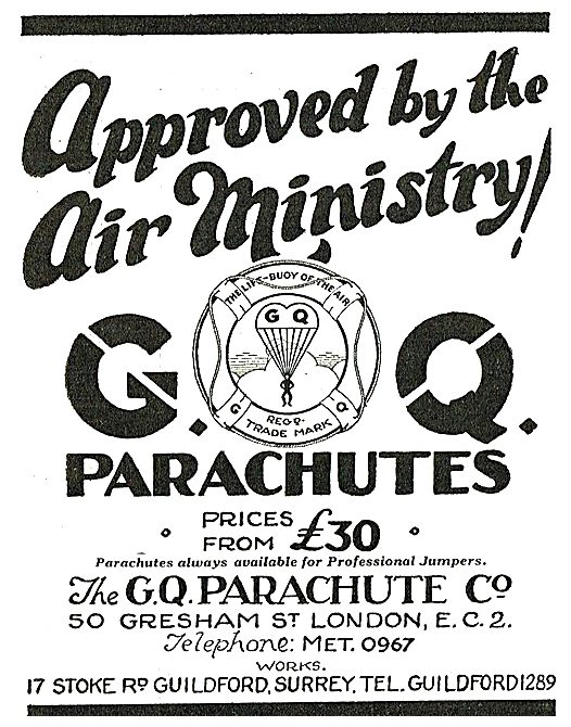 GQ Parachutes Air Ministry Approved