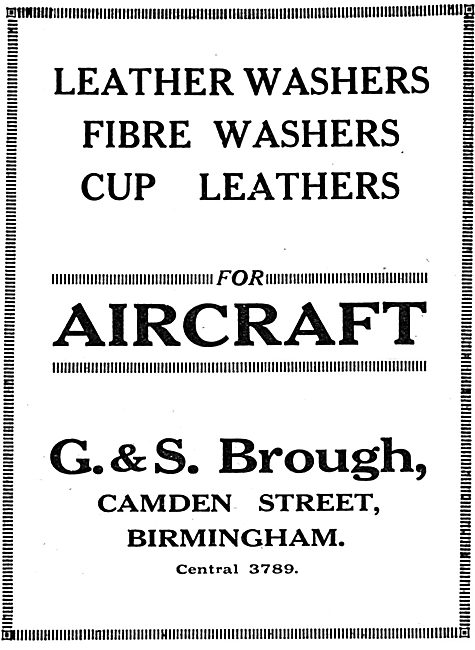 G & S.Brough.Camden St, Birmingham. Leather Parts For Aircraft.