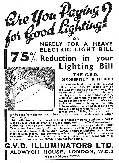 G.V.D.Illuminators Factory Lighting Systems 1939