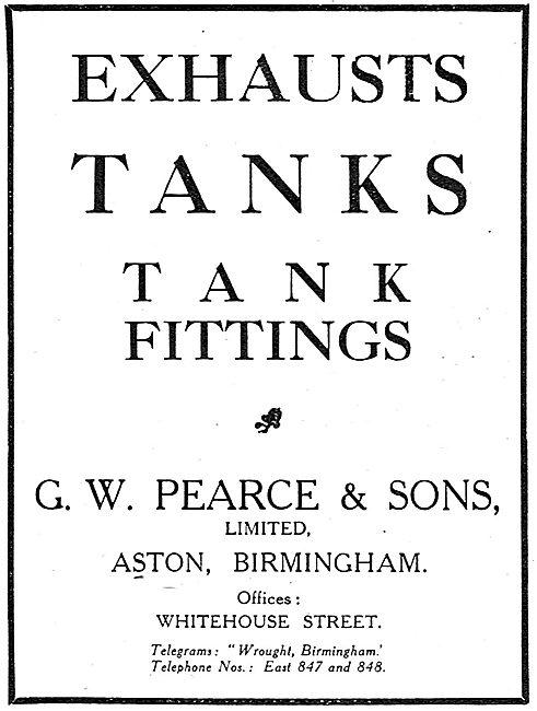 G.W.Pearce & Sons. Aston, Birmingham. Exhausts, Tanks & Fittings