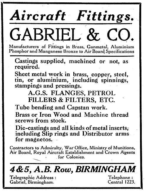 Gabriel & Co. A.B.Row, Birm. Aero Castings, Sheet Metal Work
