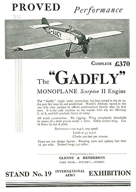 Glenny & Henderson Gadfly G-AAEY -  ABC Scorpion II Engine