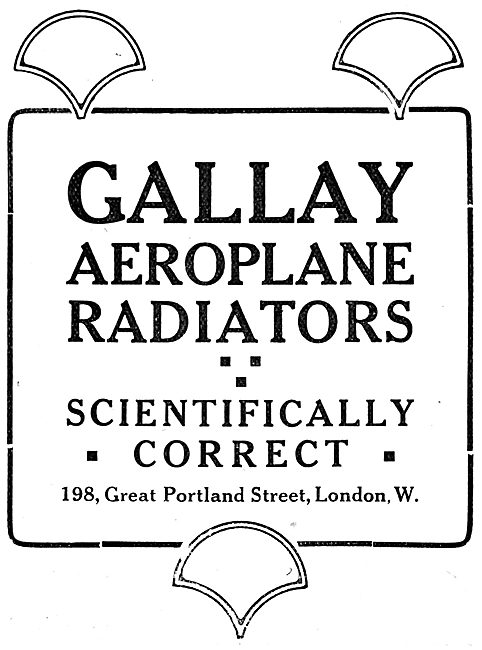 Gallay Aeroplane Radiators 1917