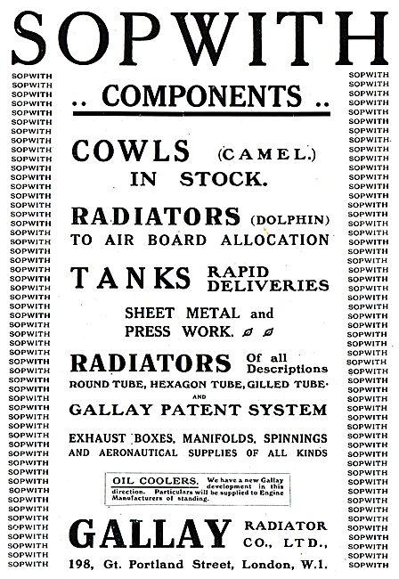 Gallay Aeroplane Radiators, Cowls & Tanks