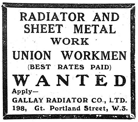 Gallay Aeroplane Radiators & Sheet Metal Work - 1918 Recruitment
