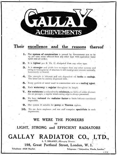 Gallay Aeroplane Radiators & Sheet Metal Work
