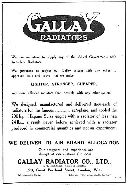 Gallay Aeroplane Radiators 1918