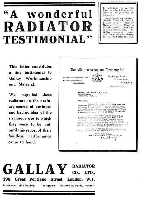 Gallay Aero Engine Radiators - 1919 Advert