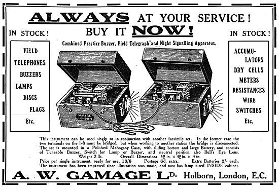 Gamages Field Telephones, Buzzers, Lamps & Flags