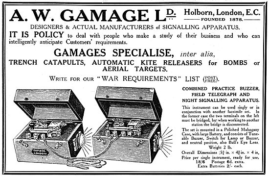 Gamages Field Telephones, Morse Sets & Signalling Apparatus