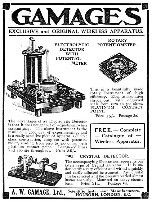 Gamages Wireless Apparatus - 1913