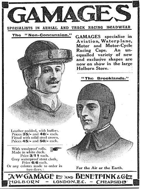 The Gamage Brooklands Aviators' Helmet