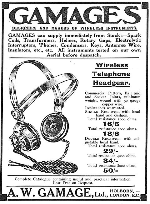 The Gamage Aviators' Wireless Telephone Headgear