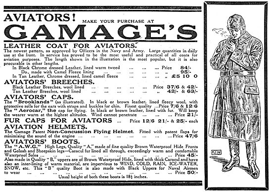 Gamage Aviators' Fur Caps,Helmets, Boots & Breeches.