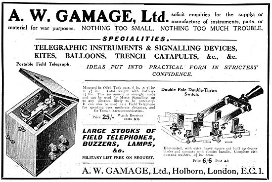 Gamages Field Telephones, Morse Buzzers & Lamps WW1