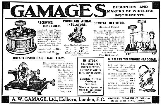 Gamages Wireless Apparatus & Accessories - 1913