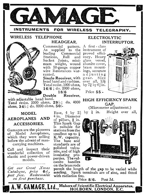 Gamages Instruments For Wireless Telegraphy 1913