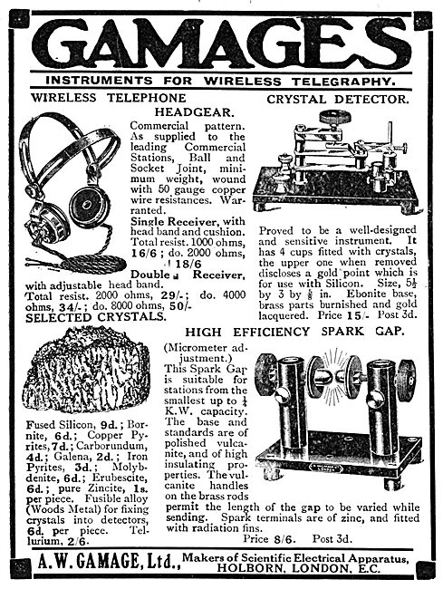 Gamages Wireless Apparatus & Instruments For Wireless - 1913