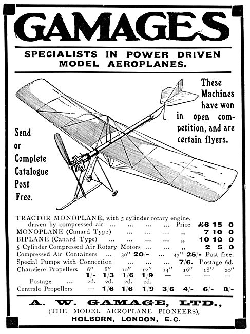 Gamages Power Driven Model Aeroplanes & Accessories 1913