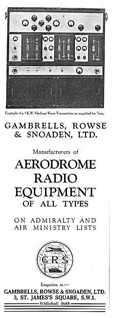 Gambrells Rowse & Snoaden. Aerodrome Radio Installations