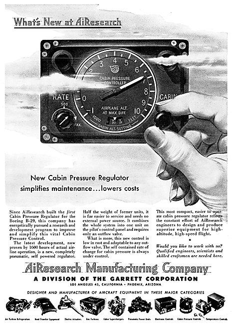AirResearch Cabin Pressure Regulators