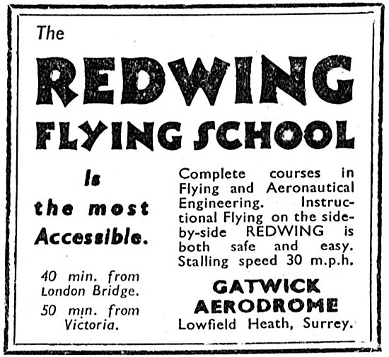 Redwing Flying School. Gatwick Aerodrome 1933