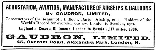 Gaudron - Aerostation, Aviation, Manufacturers Of Airships