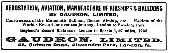 Gaudron Airships & Balloons. 45 Outram Rd, Alexandra Park. London