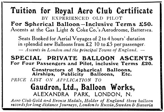 Gaudron Flying Tuition - Balloon Ascents From Battersea Aerodrome