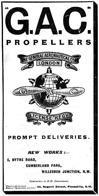 The General Aeronautical Co. G.A.C. Propellers