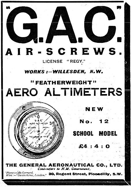 The General Aeronautical Comapny. GAC Propellers