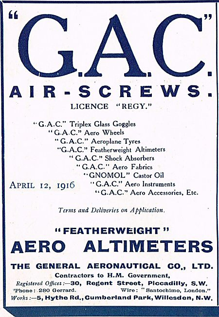 The General Aeronautical Co. GAC Airscrews & Altimeters