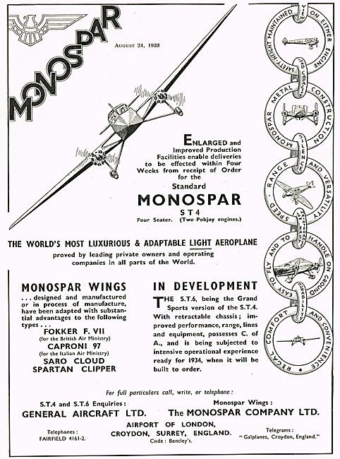General Aircraft Monospar ST4 Four Seater